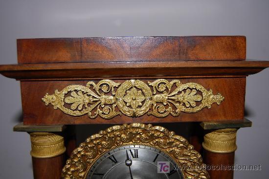 Relojes de carga manual: RELOJ ESTILO IMPERIO DE PALMA DE CAOBA Y CAOBA CON APLIQUES DE BRONCE Y ORO FINO - Foto 10 - 27019221