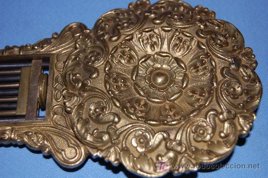 Relojes de carga manual: RELOJ ESTILO IMPERIO DE PALMA DE CAOBA Y CAOBA CON APLIQUES DE BRONCE Y ORO FINO - Foto 15 - 27019221