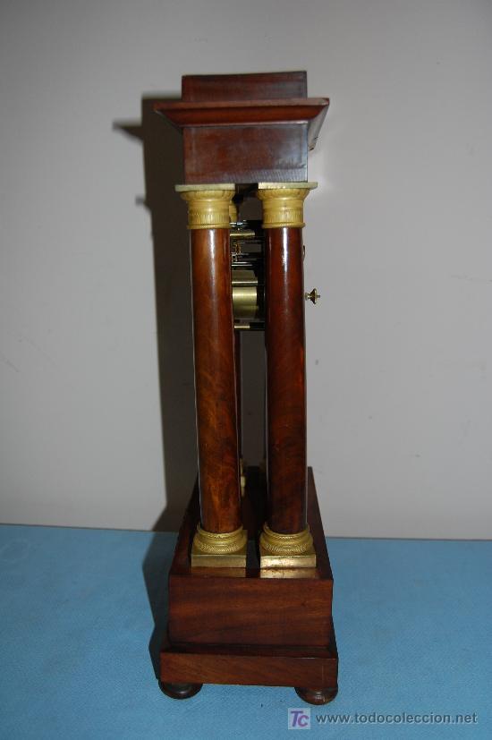Relojes de carga manual: RELOJ ESTILO IMPERIO DE PALMA DE CAOBA Y CAOBA CON APLIQUES DE BRONCE Y ORO FINO - Foto 2 - 27019221