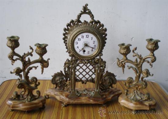GUARNICION DE BRONCE Y MÁRMOL (Relojes - Sobremesa Carga Manual)