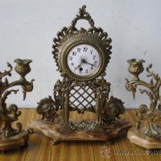 Relojes de carga manual: GUARNICION DE BRONCE Y MÁRMOL. Lote 19267805