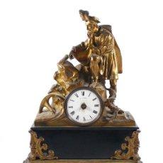 Relojes de carga manual: RELOJ DE SOBREMESA EN METAL Y MÁRMOL S.XIX. 54 CM. DE ALTURA X 41 CM. ANCHO.. Lote 22189052