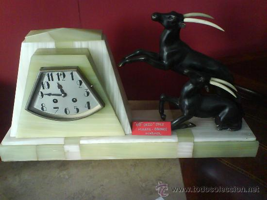 RELOJ ART DECO MARMOL Y BRONCE (Relojes - Sobremesa Carga Manual)