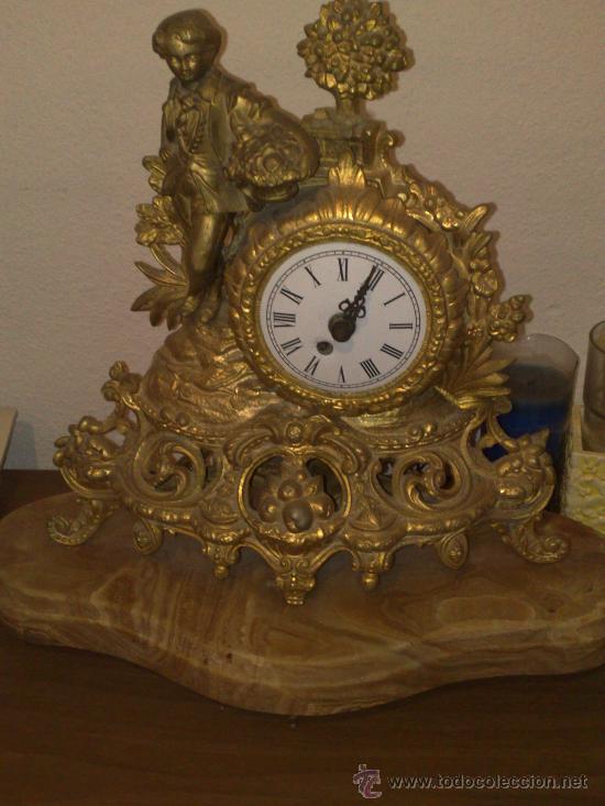 Reloj Pie De Bronce Consola Marmol Antiguo Con 8nPwyvN0Om