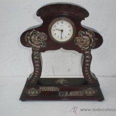 Relojes de carga manual: RELOJ EN PALO SANTO Y RELIVES EN PLATA KEISE. Lote 23993091