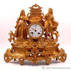 Relojes de carga manual: RELOJ DE CALAMINA DORADA 1900'S. 36 M ALTURA X 42 CM DE ANCHO,. Lote 27707823