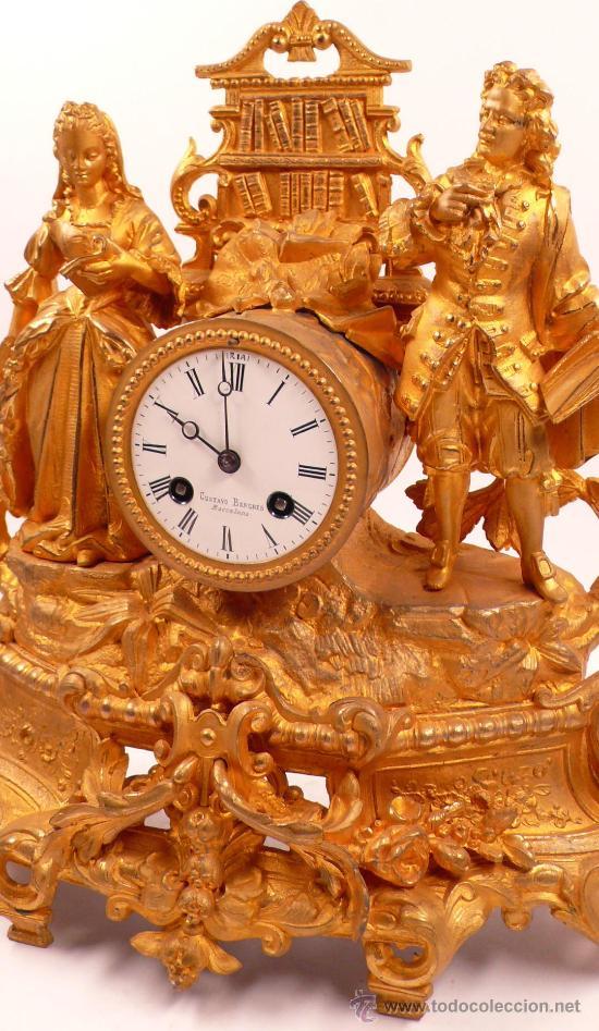 Relojes de carga manual: RELOJ DE CALAMINA DORADA 1900s. 36 m altura x 42 cm de ancho, - Foto 3 - 27707823