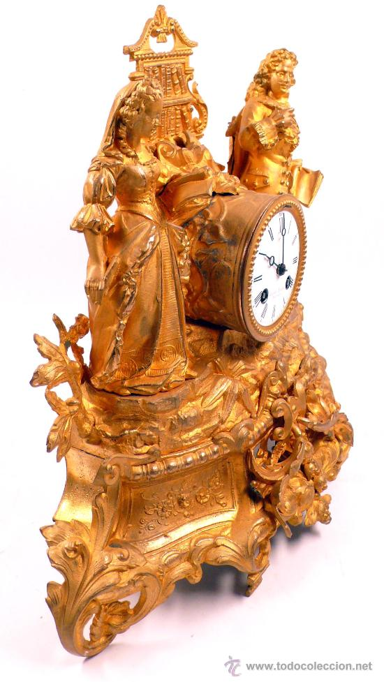 Relojes de carga manual: RELOJ DE CALAMINA DORADA 1900s. 36 m altura x 42 cm de ancho, - Foto 2 - 27707823