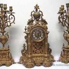 Relojes de carga manual: ESPECTACULAR RELOJ DE CHIMENEA EN BRONCE. Lote 28776039