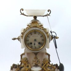 Relojes de carga manual: RELOJ DE SOBREMESA EN ALABASTRO Y CALAMINA, 1900'S. .. Lote 29447448