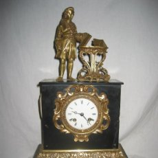 Relojes de carga manual: PRECIOSO RELOJ ANTIGUO CON FIGURA DE BRONCE. Lote 29505797