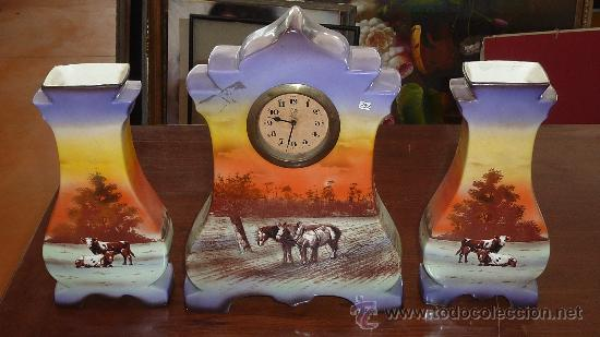 PRECIOSO RELOJ DE SOBREMESA EN PORCELANA FRANCESA PINTADA. DE 1920S. MARCA MINERVE. (Relojes - Sobremesa Carga Manual)