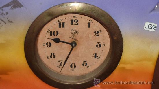 Relojes de carga manual: Precioso reloj de sobremesa en porcelana francesa pintada. de 1920s. Marca Minerve. - Foto 4 - 29706498