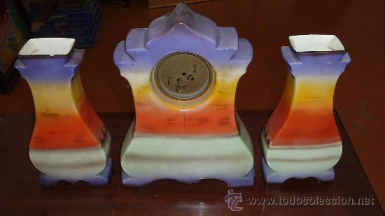 Relojes de carga manual: Precioso reloj de sobremesa en porcelana francesa pintada. de 1920s. Marca Minerve. - Foto 8 - 29706498