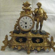 Relojes de carga manual: RELOJ FRANCES DE CALAMINA DORADO AL ORMOLUZ U ORO FINO CIRCA 1900. Lote 29987388