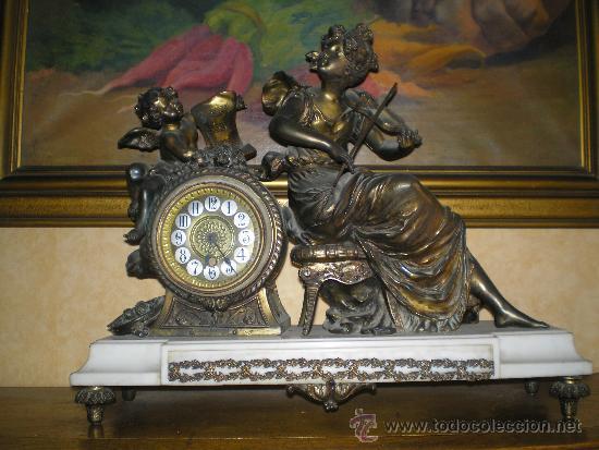 RELOJ FRANCES CALAMINA S.XIX LOUIS XVI (Relojes - Sobremesa Carga Manual)