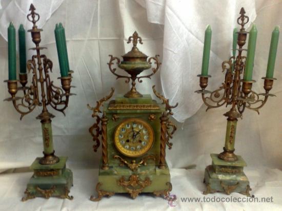 Siglo xx antiguo reloj de chimenea en onix con comprar - Relojes de sobremesa antiguos ...