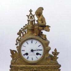 Relojes de carga manual: RELOJ DE SOBREMESA DE METAL, 34 CM DE ALTURA. 1900'S.. Lote 33442922