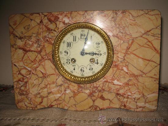 Relojes de carga manual: RELOJ DE SOBREMESA ESTILO ART DECO MAQUINA PARIS, CON GUARNICIÓN MARMOL OCRE ROSADO FUNCIONANDO - Foto 2 - 33808381