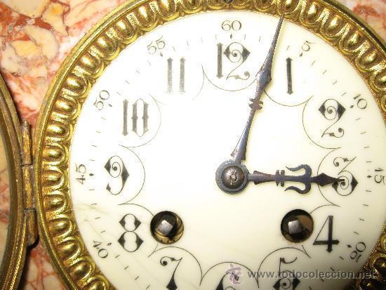 Relojes de carga manual: RELOJ DE SOBREMESA ESTILO ART DECO MAQUINA PARIS, CON GUARNICIÓN MARMOL OCRE ROSADO FUNCIONANDO - Foto 3 - 33808381
