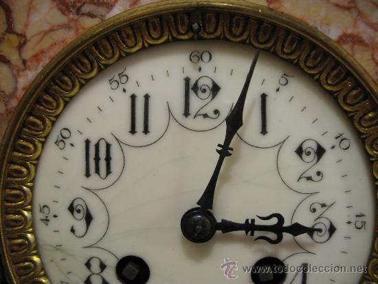 Relojes de carga manual: RELOJ DE SOBREMESA ESTILO ART DECO MAQUINA PARIS, CON GUARNICIÓN MARMOL OCRE ROSADO FUNCIONANDO - Foto 4 - 33808381