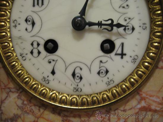 Relojes de carga manual: RELOJ DE SOBREMESA ESTILO ART DECO MAQUINA PARIS, CON GUARNICIÓN MARMOL OCRE ROSADO FUNCIONANDO - Foto 6 - 33808381