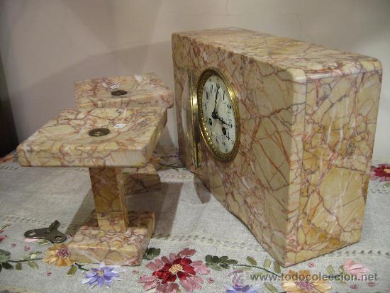 Relojes de carga manual: RELOJ DE SOBREMESA ESTILO ART DECO MAQUINA PARIS, CON GUARNICIÓN MARMOL OCRE ROSADO FUNCIONANDO - Foto 7 - 33808381