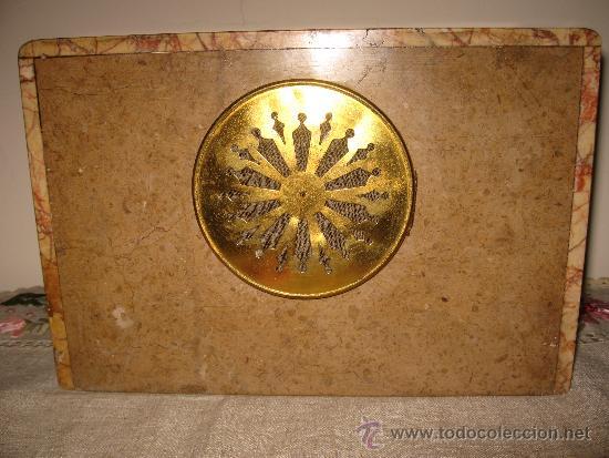 Relojes de carga manual: RELOJ DE SOBREMESA ESTILO ART DECO MAQUINA PARIS, CON GUARNICIÓN MARMOL OCRE ROSADO FUNCIONANDO - Foto 8 - 33808381