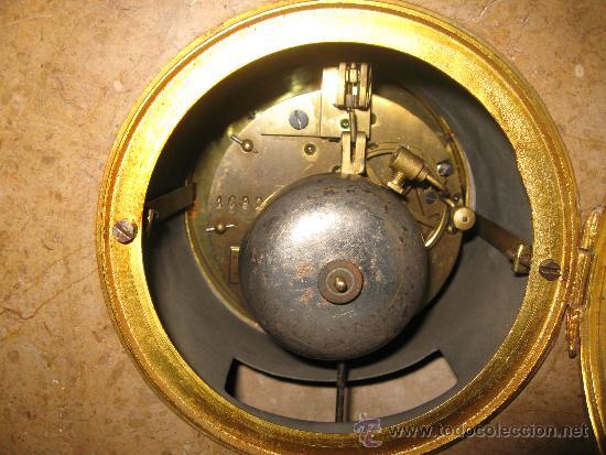 Relojes de carga manual: RELOJ DE SOBREMESA ESTILO ART DECO MAQUINA PARIS, CON GUARNICIÓN MARMOL OCRE ROSADO FUNCIONANDO - Foto 9 - 33808381