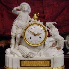 Relojes de carga manual: RELOJ LUIS XVI FRANCIA;BISCUIT MATIZADO Y BRONCES ORMOLU FIRMADO DROUOT A PARIS. Lote 36403863