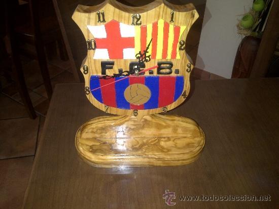 reloj artesano con madera de olivo del fc barcelona relojes sobremesa carga manual