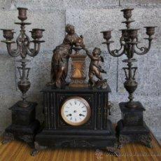 Relojes de carga manual: GUARNICION .. DE MÁRMOL Y CALAMINA .. METRAUD BARBEZIEUX. Lote 36908634
