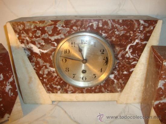 Relojes de carga manual: ANTIGUO RELOJ ESTILO ART-DECO VINTAGE ORIGINAL AÑOS 20/30, EN MARMOL DISTINTOS COLORES. FUNCIONA. - Foto 2 - 84744672