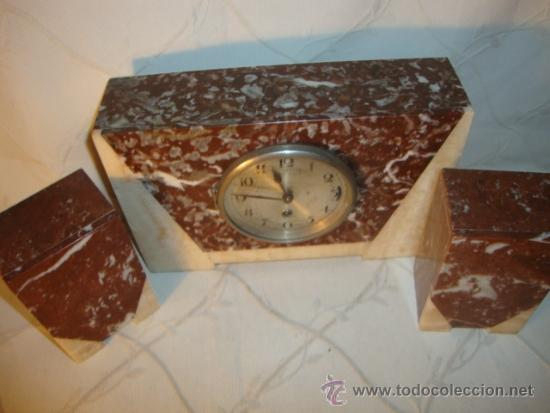Relojes de carga manual: ANTIGUO RELOJ ESTILO ART-DECO VINTAGE ORIGINAL AÑOS 20/30, EN MARMOL DISTINTOS COLORES. FUNCIONA. - Foto 4 - 84744672