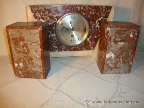 Relojes de carga manual: ANTIGUO RELOJ ESTILO ART-DECO VINTAGE ORIGINAL AÑOS 20/30, EN MARMOL DISTINTOS COLORES. FUNCIONA. - Foto 5 - 84744672