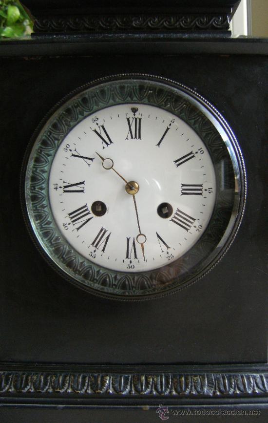 Relojes de carga manual: ANTIGUO RELOJ DE SOBREMESA MARMOL Y BRONCE NEGRO - Foto 2 - 37831042