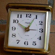 Relojes de carga manual: RELOJ DESPERTADOR DE VIAJE DE CUERDA RHYTHM, VINTAGE. Lote 38587318