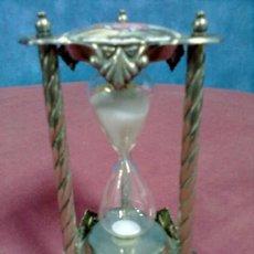 Relojes de carga manual: RELOJ DE ARENA CRISTAL SOPLADO HIERRO ESCENAS FRAGONARD METAL PLATEADO. Lote 39295511