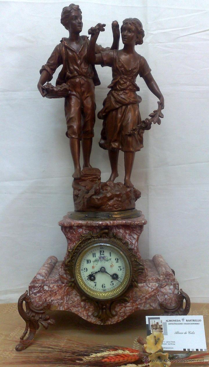 Relojes de carga manual: PPOS. XX. RELOJ DE SOBREMESA EN MÁRMOL Y CALAMINA. FIRMADO Y TITULADO. - Foto 2 - 32087386