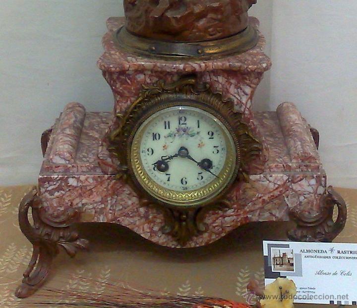 Relojes de carga manual: PPOS. XX. RELOJ DE SOBREMESA EN MÁRMOL Y CALAMINA. FIRMADO Y TITULADO. - Foto 4 - 32087386