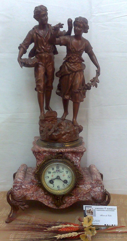 Relojes de carga manual: PPOS. XX. RELOJ DE SOBREMESA EN MÁRMOL Y CALAMINA. FIRMADO Y TITULADO. - Foto 8 - 32087386