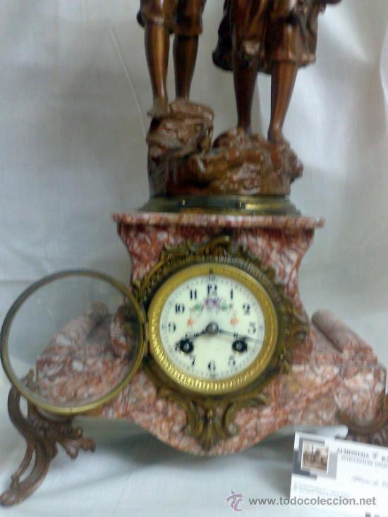 Relojes de carga manual: PPOS. XX. RELOJ DE SOBREMESA EN MÁRMOL Y CALAMINA. FIRMADO Y TITULADO. - Foto 12 - 32087386
