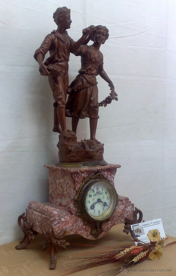 Relojes de carga manual: PPOS. XX. RELOJ DE SOBREMESA EN MÁRMOL Y CALAMINA. FIRMADO Y TITULADO. - Foto 14 - 32087386