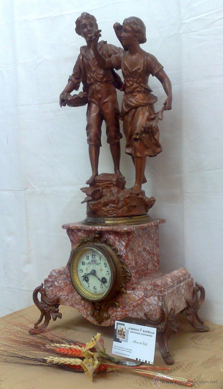Relojes de carga manual: PPOS. XX. RELOJ DE SOBREMESA EN MÁRMOL Y CALAMINA. FIRMADO Y TITULADO. - Foto 16 - 32087386