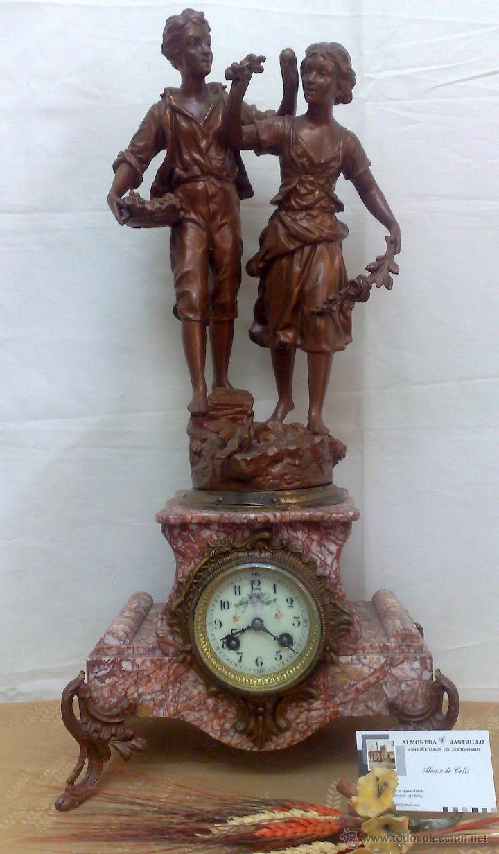 Relojes de carga manual: PPOS. XX. RELOJ DE SOBREMESA EN MÁRMOL Y CALAMINA. FIRMADO Y TITULADO. - Foto 22 - 32087386