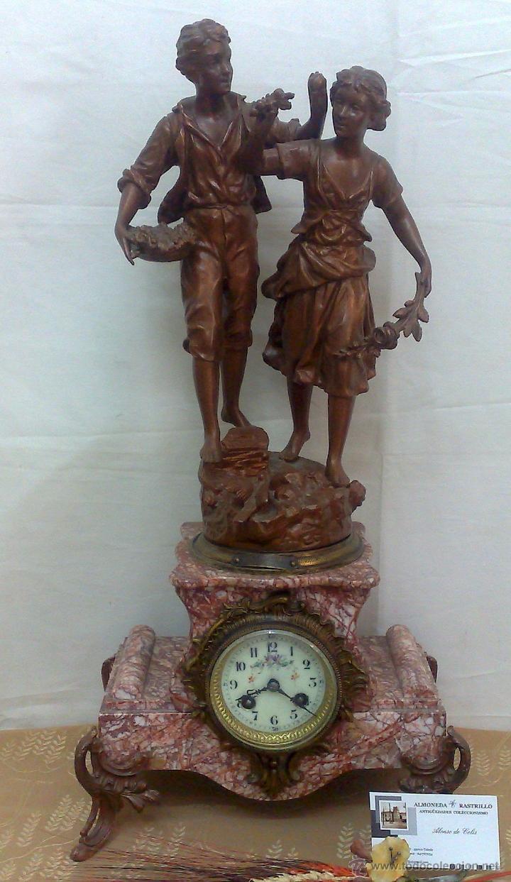 Relojes de carga manual: PPOS. XX. RELOJ DE SOBREMESA EN MÁRMOL Y CALAMINA. FIRMADO Y TITULADO. - Foto 24 - 32087386