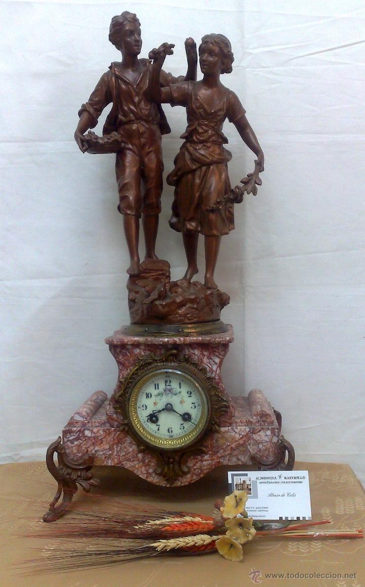 Relojes de carga manual: PPOS. XX. RELOJ DE SOBREMESA EN MÁRMOL Y CALAMINA. FIRMADO Y TITULADO. - Foto 26 - 32087386