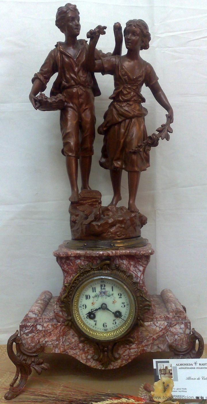 Relojes de carga manual: PPOS. XX. RELOJ DE SOBREMESA EN MÁRMOL Y CALAMINA. FIRMADO Y TITULADO. - Foto 27 - 32087386