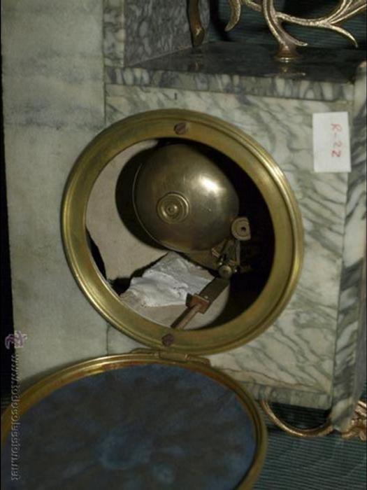 Relojes de carga manual: RELOJ SOBREMESA. calamina y mármol. Con guarnición. FDO: guillemin. MÁQUINA PARÍS. EN MARCHA. SXIX. - Foto 9 - 41789966