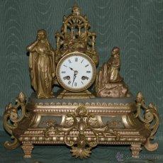 Relojes de carga manual: RELOJ SOBREMESA. ALABASTRO Y CALAMINA. MÁQUINA PARÍS. EN MARCHA. SXIX. FRANCIA.. Lote 42251765
